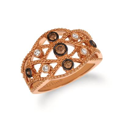 14K Strawberry Gold® Ring with Chocolate Diamonds® 1/4 cts., Vanilla Diamonds® 1/10 cts. | WJFW 1